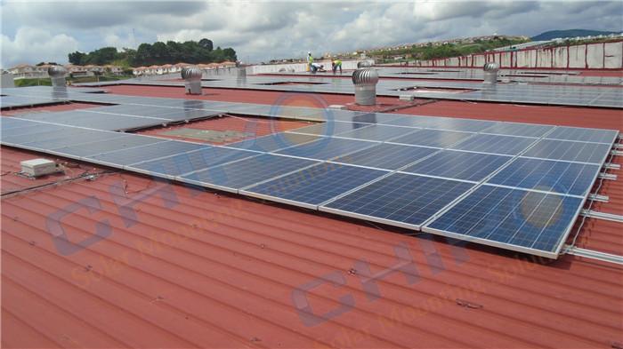 巴拿马4MW彩钢瓦屋顶工程——晨科太阳能L脚光伏支架系统